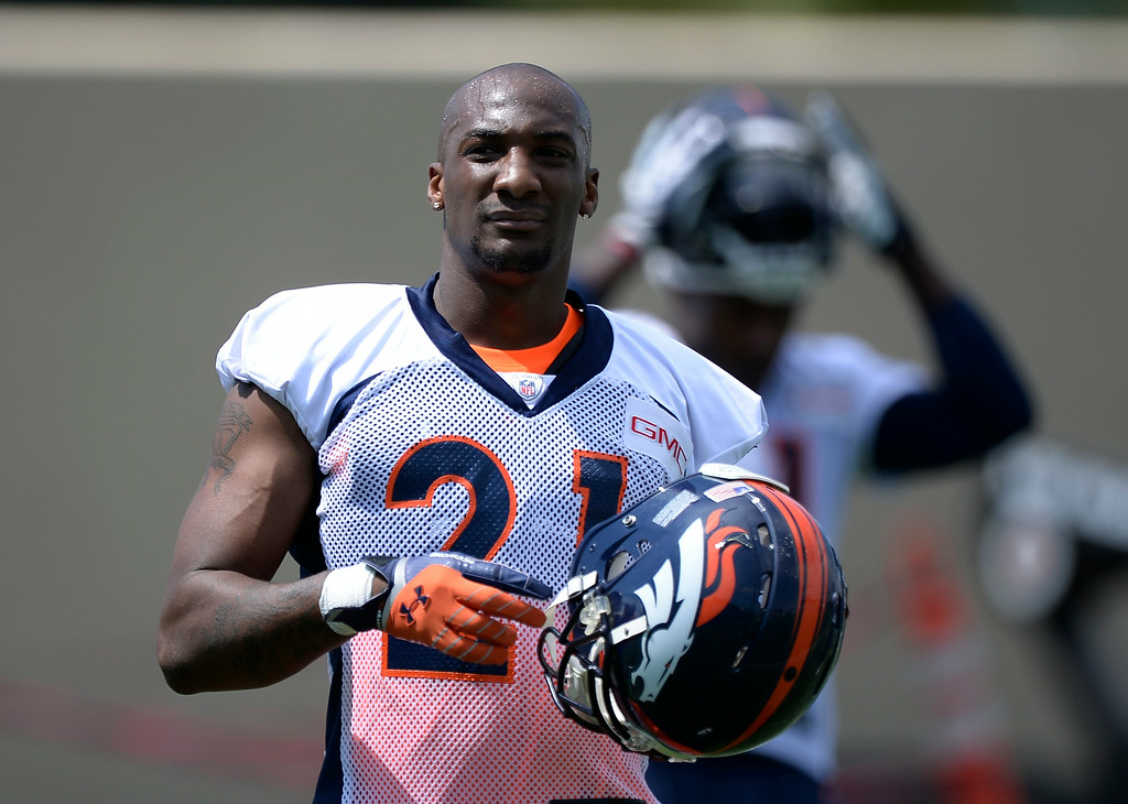 . Denver Broncos cornerback Aqib Talib (21) takes a break from drills during day two of the Denver Broncos 2014 training camp July 25, 2014 at Dove Valley. (Photo by John Leyba/The Denver Post)