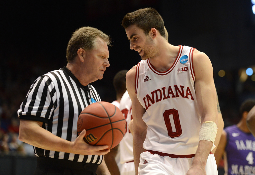 . DAYTON, OH - MARCH 22: Will Sheehey #0 of the Indiana Hoosiers speaks with an official after a call in the second half against the James Madison Dukes during the second round of the 2013 NCAA Men\'s Basketball Tournament at UD Arena on March 22, 2013 in Dayton, Ohio.  (Photo by Jason Miller/Getty Images)