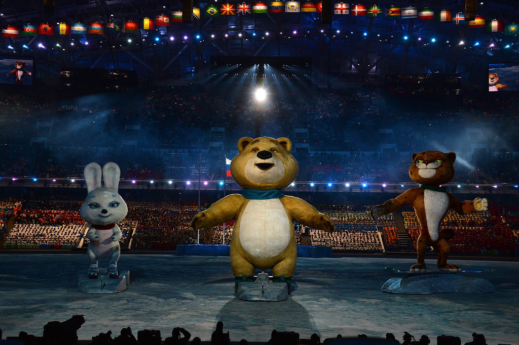 . Olympic mascots the Hare, the Polar Bear and the Leopard wave during the Opening Ceremony of the Sochi 2014 Winter Olympics at Fisht Olympic Stadium on February 7, 2014 in Sochi, Russia.  (Photo by Pascal Le Segretain/Getty Images)