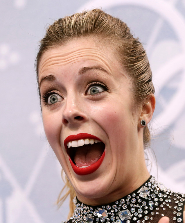 . Ashley Wagner of the United States reacts as she waits in the results area after completing her routine in the women\'s short program figure skating competition at the Iceberg Skating Palace during the 2014 Winter Olympics, Wednesday, Feb. 19, 2014, in Sochi, Russia. (AP Photo/Bernat Armangue)