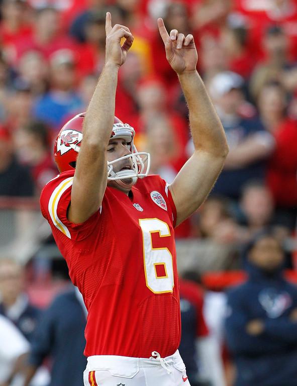 . Kansas City Chiefs kicker Ryan Succop (6) celebrates a field goal during the second half of an NFL football game against the Houston Texans at Arrowhead Stadium in Kansas City, Mo., Sunday, Oct. 20, 2013. (AP Photo/Colin E. Braley)