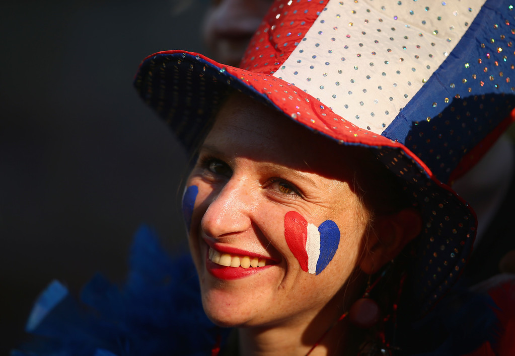 . A France fan enjoys the atmosphere prior to the 2014 FIFA World Cup Brazil Group E match between Ecuador and France at Maracana on June 25, 2014 in Rio de Janeiro, Brazil.  (Photo by Clive Rose/Getty Images)