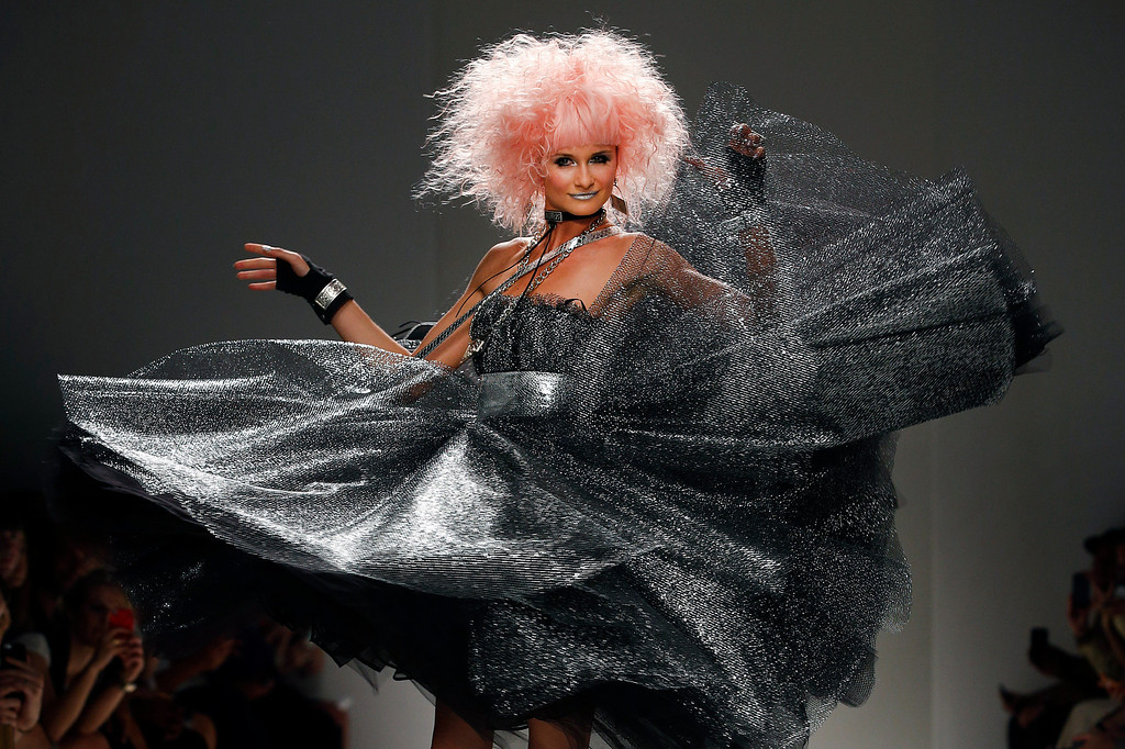 . The Betsey Johnson Spring 2014 collection is modeled during Fashion Week in New York, Wednesday, Sept. 11, 2013. (AP Photo/John Minchillo)