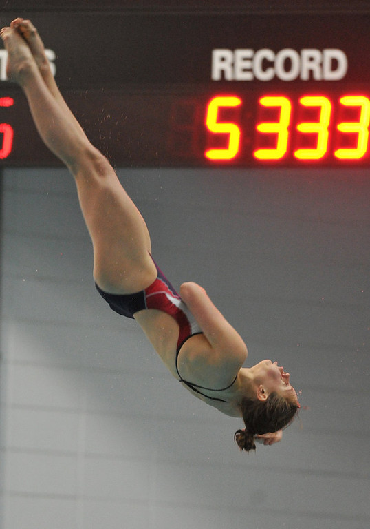 . FORT COLLINS, CO. - FEBRUARY 09: Michal Bower, diver of Loveland High School, competes in her 4th 5A State Championship on February 9, 2013 at Edora Pool Ice Center in Fort Collins, Colorado. (Photo By Hyoung Chang/The Denver Post)