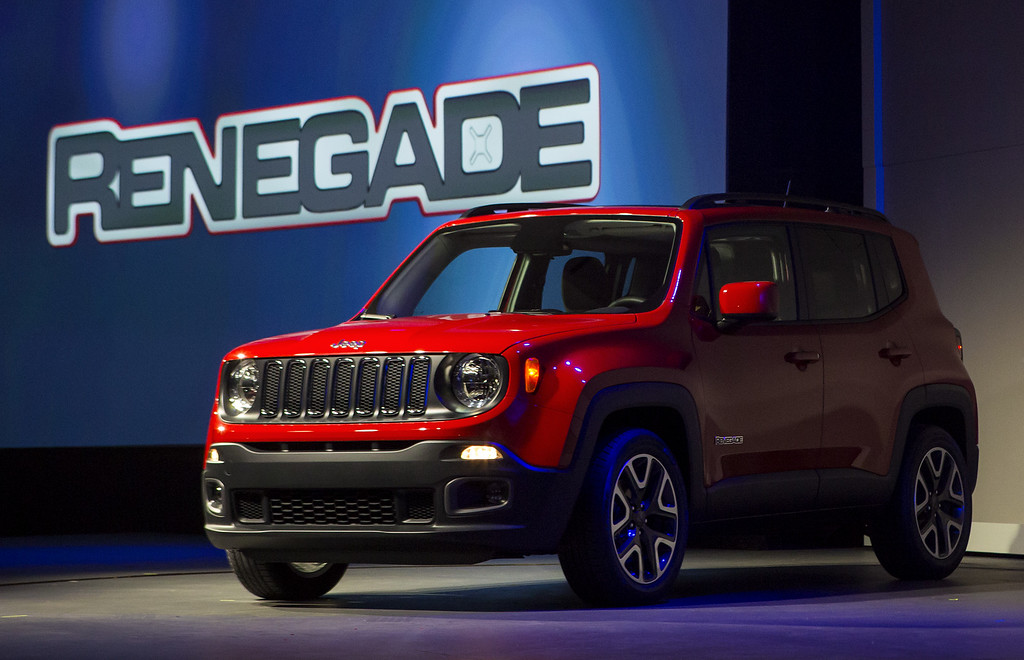 . The Chrysler Group LLC Jeep Renegade Trail Hawk sport utility vehicle is unveiled during a media preview of the 2014 New York International Auto Show April 16, 2014 in New York City. The show opens with a sneak preview to the public April 18 and runs through April 27.  (Photo by Eric Thayer/Getty Images)
