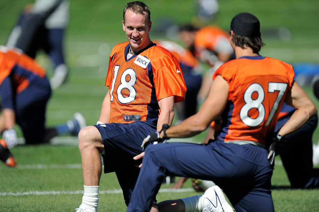 . Quarterback Peyton Manning (18) of the Denver Broncos talks with wide receiver Eric Decker (87) of the Denver Broncos before practice September 25, 2013 at Dove Valley. (Photo by John Leyba/The Denver Post)