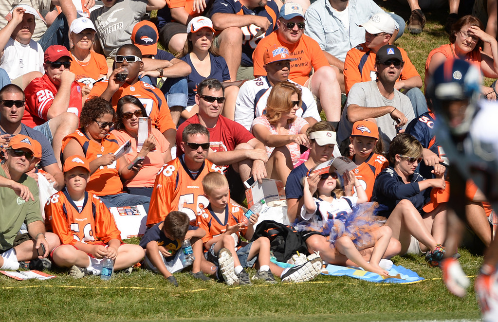 . CENTENNIAL, CO. - August 10: Denver Broncos fans watch the training camp at Dove Valley. Centennial, Colorado. August 10, 2013. (Photo By Hyoung Chang/The Denver Post)
