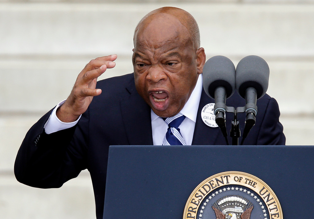 ". Rep, John Lewis, D-Ga. speaks at the Let Freedom Ring ceremony at the Lincoln Memorial in Washington, Wednesday, Aug. 28, 2013, to commemorate the 50th anniversary of the 1963 March on Washington for Jobs and Freedom. It was 50 years ago today when Martin Luther King Jr. delivered his ""I Have a Dream\"" speech from the steps of the memorial. (AP Photo/Carolyn Kaster)"