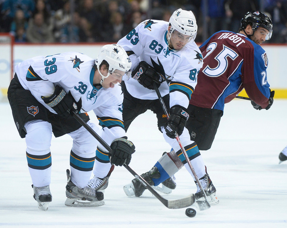 . DENVER, CO. - JANUARY 04:  Sharks\' center Logan Couture (39) and wing Matt Nieto (83) controlled the puck in front of Avs\' Maxime Talbot (25) in the first period. The Colorado Avalanche hosted the San Jose Sharks at the Pepsi Center Saturday afternoon, January 4, 2014. Photo By Karl Gehring/The Denver Post