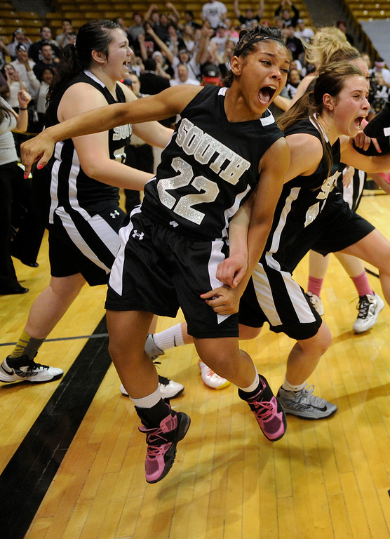 . BOULDER, CO. - MARCH 16: Colts senior guard Jayma Martin (22) reacted at the buzzer. The Pueblo South High School girl\'s basketball team defeated D\'Evelyn 66-42 in the 4A championship game Saturday, March 16, 2013 at the Coors Events Center in Boulder.  (Photo By Karl Gehring/The Denver Post)