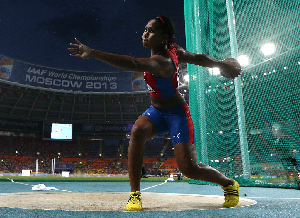 . Yarelys Barrios of Cuba  competes in the Women\'s Discus final during Day Two of the 14th IAAF World Athletics Championships Moscow 2013 at Luzhniki Stadium on August 11, 2013 in Moscow, Russia.  (Photo by Cameron Spencer/Getty Images)
