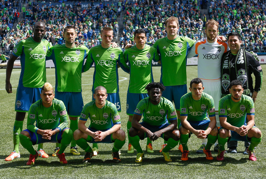 . Members of the Seattle Sounders FC pose for the team photo prior to the match against the Colorado Rapids at CenturyLink Field on April 26, 2014 in Seattle, Washington. (Photo by Otto Greule Jr/Getty Images)