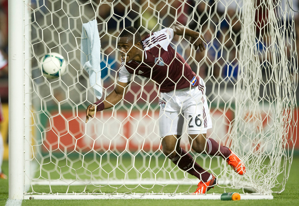 . DENVER - JULY 4: Deshorn Brown, #26 of the Colorado Rapids, runs out of the goal after scoring a goal during the second half of a MLS soccer match against the New York Red Bulls on July 4, 2013 at Dick\'s Sporting Goods Park. The Rapids defeated the Red Bulls 2-0. (Photo By Grant Hindsley / The Denver Post)