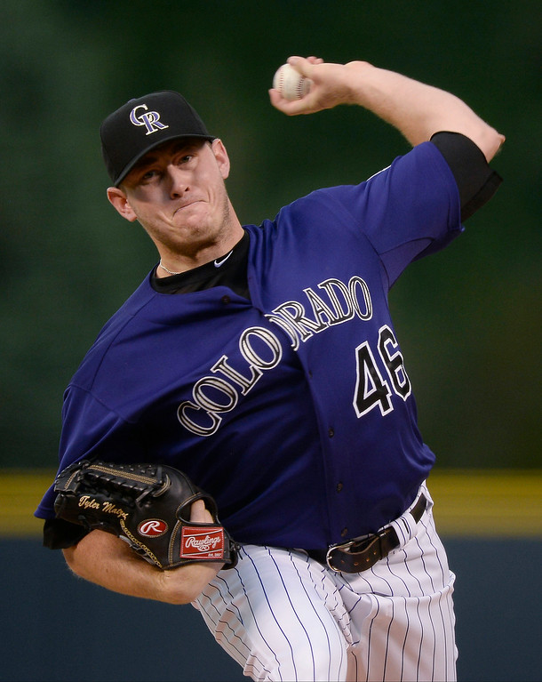 . Colorado Rockies starting pitcher Tyler Matzek (46) delivers a pitch in the first inning against the San Diego Padres July 7, 2014 at Coors Field. (Photo by John Leyba/The Denver Post)