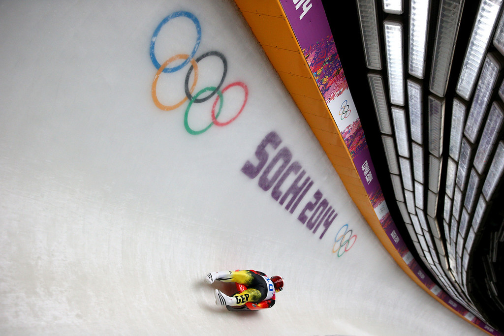 . Felix Loch of Germany competes during the Men\'s Luge Singles on Day 2 of the Sochi 2014 Winter Olympics at Sliding Center Sanki on February 9, 2014 in Sochi, Russia.  (Photo by Paul Gilham/Getty Images)