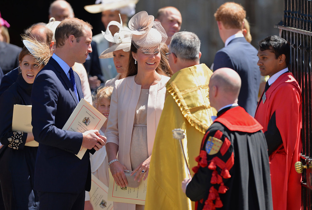 . Britain\'s Prince William, (Front L) and his wife Catherine, Duchess of Cambridge, (C) speak outside Westminster Abbey in London, on June 4, 2013, after attending a service to celebrate the 60th anniversary of the Coronation Service. Queen Elizabeth II, now 87, took the throne on February 6, 1952 upon the death of her father king George VI, but to allow for a period of national mourning she was only crowned on June 2, 1953 in London\'s Westminster Abbey.  LEON NEAL/AFP/Getty Images