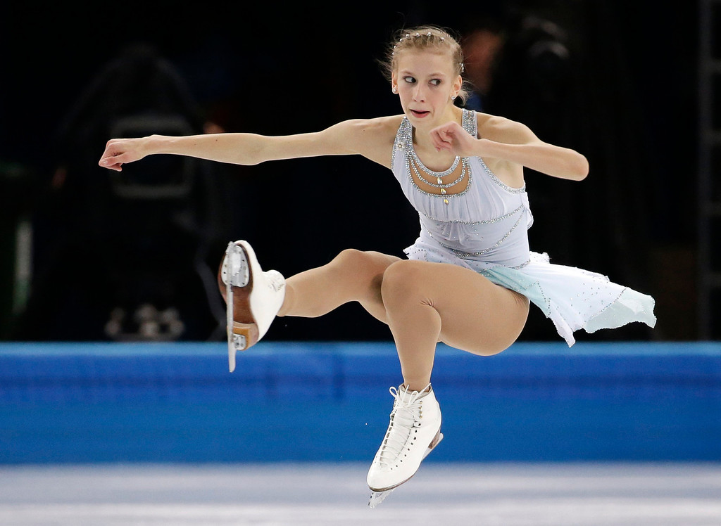 . Polina Edmunds of the United States competes in the women\'s free skate figure skating finals at the Iceberg Skating Palace during the 2014 Winter Olympics, Thursday, Feb. 20, 2014, in Sochi, Russia. (AP Photo/Bernat Armangue)