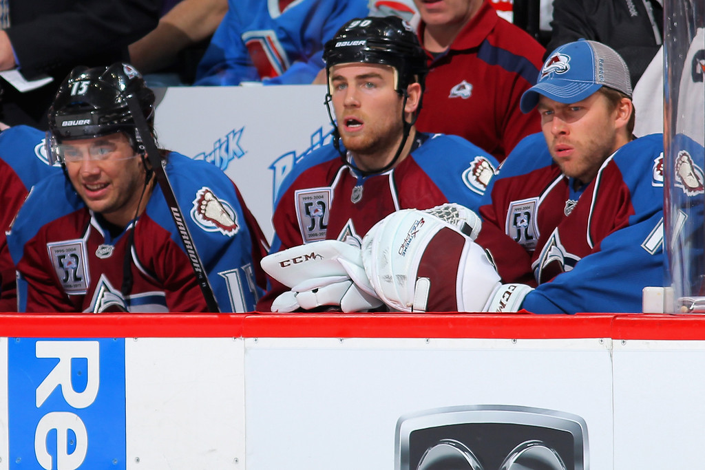 . DENVER, CO - NOVEMBER 02:  Goalie Semyon Varlamov #1 (R) of the Colorado Avalanche sits out the game on the bench against the Montreal Canadiens at Pepsi Center on November 2, 2013 in Denver, Colorado.  (Photo by Doug Pensinger/Getty Images)