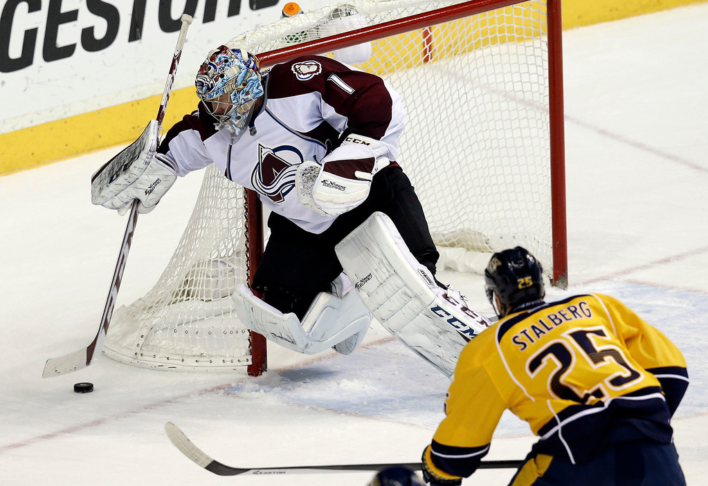 . Colorado Avalanche goalie Semyon Varlamov (1), of Russia, covers up the puck as Nashville Predators forward Viktor Stalberg (25), of Sweden, closes in during the second period of an NHL hockey game, Saturday, Jan. 18, 2014, in Nashville, Tenn. (AP Photo/Mark Humphrey)