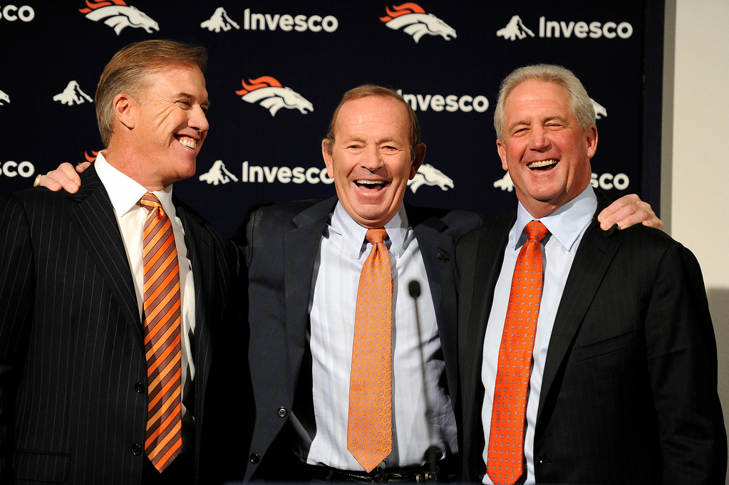 . John Elway, Pat Bowlen and John Fox pose for a photo op during the press conference announcing John Fox as 14th head coach of the Denver Broncos.   John Leyba, The Denver Post