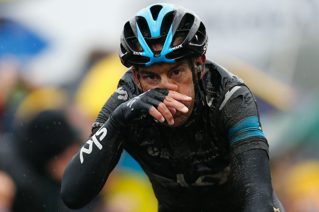 . Richie Porte of Australia and Team SKY crosses the finish line during the fifth stage of the 2014 Tour de France, a 155km stage between Ypres and Arenberg Porte du Hainaut, on July 9, 2014 in Ypres, Belgium.  (Photo by Harry Engels/Getty Images)