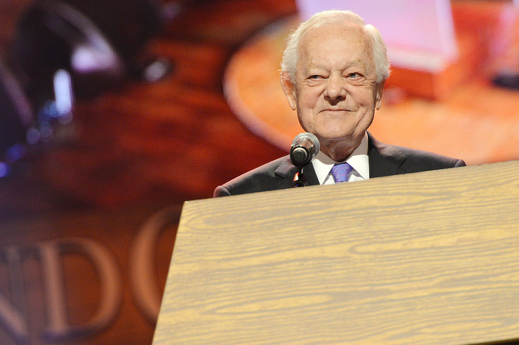 . Journalist Bob Schieffer speaks at the funeral service for George Jones at The Grand Ole Opry on May 2, 2013 in Nashville, Tennessee. (Photo by Rick Diamond/Getty Images for GJ Memorial)