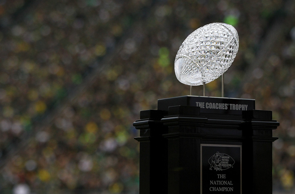 . EUGENE, OR - OCTOBER 26:  The Coaches\' Trophy is on display at the game between the Oregon Ducks and the UCLA Bruins  on October 26, 2013 at the Autzen Stadium in Eugene, Oregon.  (Photo by Jonathan Ferrey/Getty Images)