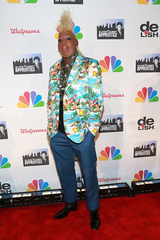 ". Dennis Rodman attends ""All Star Celebrity Apprentice\"" Finale at Cipriani 42nd Street on May 19, 2013 in New York City.  (Photo by Robin Marchant/Getty Images)"