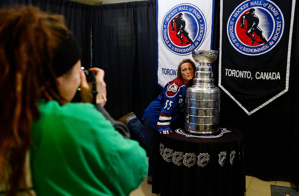 . DENVER, CO - MARCH 24: Michelle Czaja poses with the Stanley Cup before the first period of action. Colorado Avalanche versus the Vancouver Canucks at the Pepsi Center. (Photo by AAron Ontiveroz/The Denver Post)