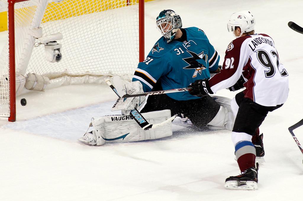 . Colorado Avalanche\'s Gabriel Landeskog, right, scores past San Jose Sharks goalie Antti Niemi during the first period of an NHL hockey game, Monday, Dec. 23, 2013, in San Jose, Calif. (AP Photo/George Nikitin)