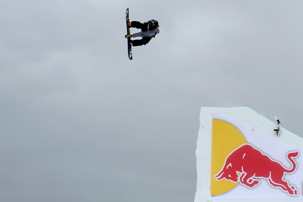 . ASPEN, CO. - JANUARY 24: Halldor Helgason hits a jump during the men\'s Snowboard Slopestyle elimination. Men\'s Snowboard Slopestyle elimination X Games Aspen Buttermilk Mountain Aspen January 24, 2013. (Photo By AAron Ontiveroz / The Denver Post)