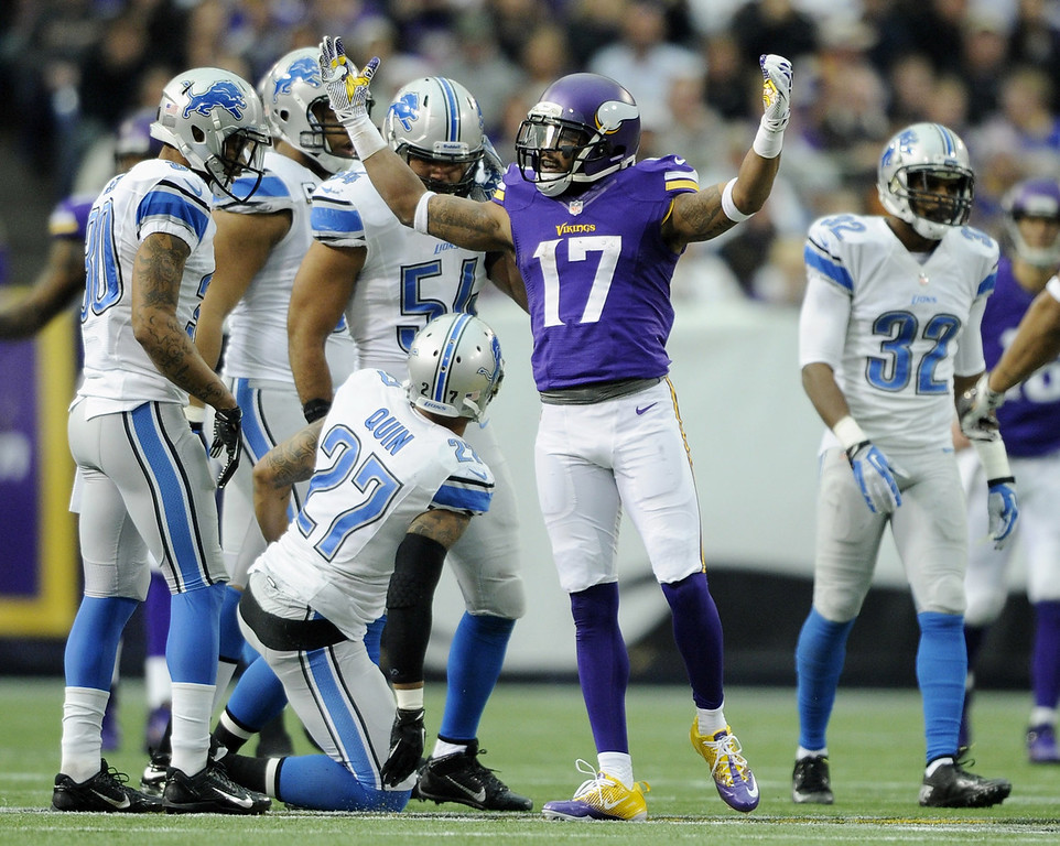 . Jarius Wright #17 of the Minnesota Vikings celebrates a first down during the first quarter of the game against the Detroit Lions on December 29, 2013 at Mall of America Field at the Hubert H. Humphrey Metrodome in Minneapolis, Minnesota. (Photo by Hannah Foslien/Getty Images)