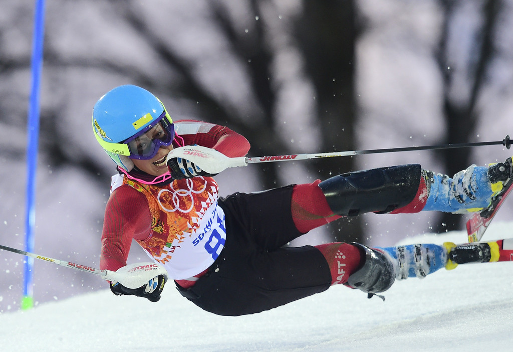 . Iran\'s Forough Abbasi falls during the Women\'s Alpine Skiing Slalom Run 1 at the Rosa Khutor Alpine Center during the Sochi Winter Olympics on February 21, 2014.       AFP PHOTO / OLIVIER MORIN/AFP/Getty Images
