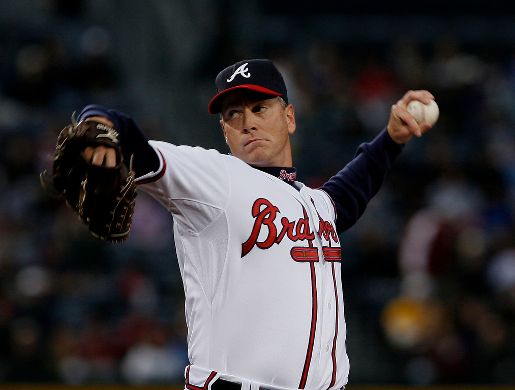 . Pitcher Tom Glavine #47 of the Atlanta Braves throws a pitch during the game against the Pittsburgh Pirates at Turner Field March 31, 2008 in Atlanta, Georgia.  (Photo by Mike Zarrilli/Getty Images)