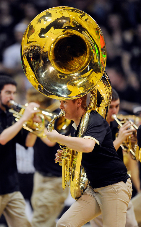 . BOULDER, CO. - MARCH 7: Colorado band members entertained the crowd of 11,000 in the second half. The University of Colorado men\'s basketball team defeated Oregon 76-53 Thursday night, March 7, 2013 at the CU Events Center in Boulder. (Photo By Karl Gehring/The Denver Post)