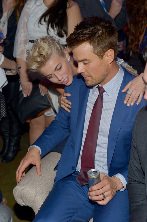 """. Actors Julianne Hough (L) and Josh Duhamel attend the premiere of Relativity Media\'s \""""Safe Haven\"""" after party at The Terrace At Hollywood & Highland on February 5, 2013 in Hollywood, California.  (Photo by Alberto E. Rodriguez/Getty Images for Relativity Media)"""