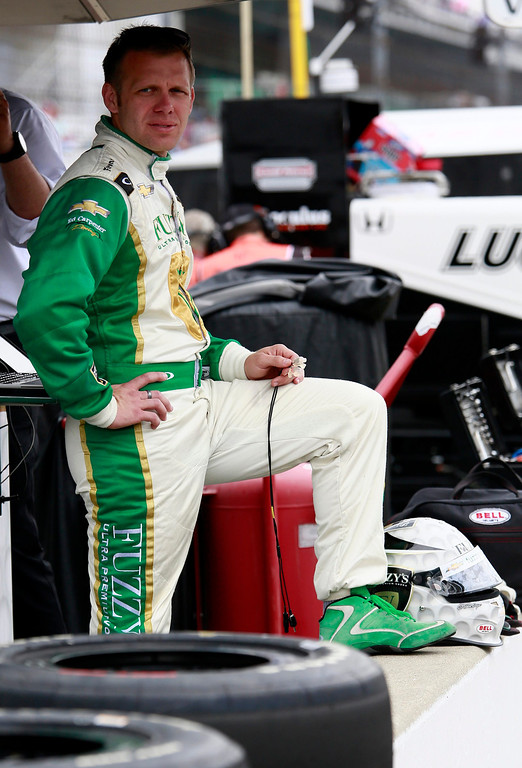 . Ed Carpenter Racing driver Ed Carpenter of the U.S. stands with his foot on the pit wall during a practice session at the Indianapolis Motor Speedway in Indianapolis, Indiana May 16, 2013. The 97th running of the Indianapolis 500 is scheduled for May 26.  REUTERS/Brent Smith