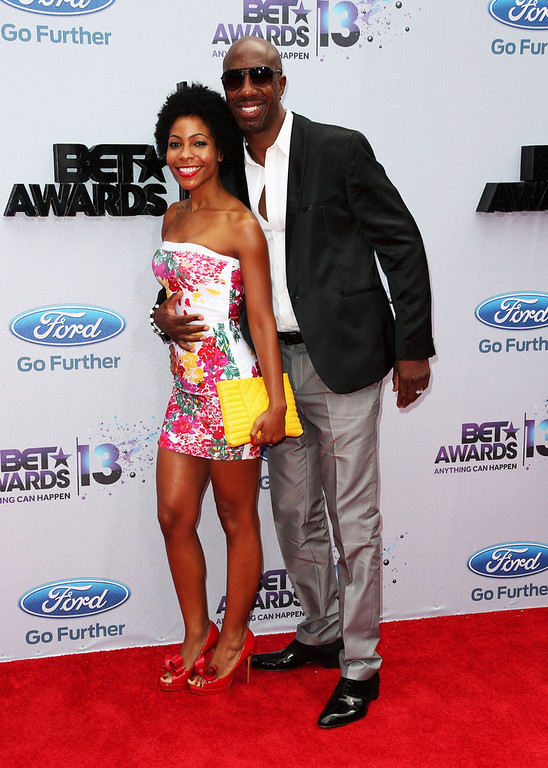 . Actor J.B. Smoove (R) and wife Shahidah Omar attend the 2013 BET Awards at Nokia Theatre L.A. Live on June 30, 2013 in Los Angeles, California.  (Photo by Frederick M. Brown/Getty Images for BET)