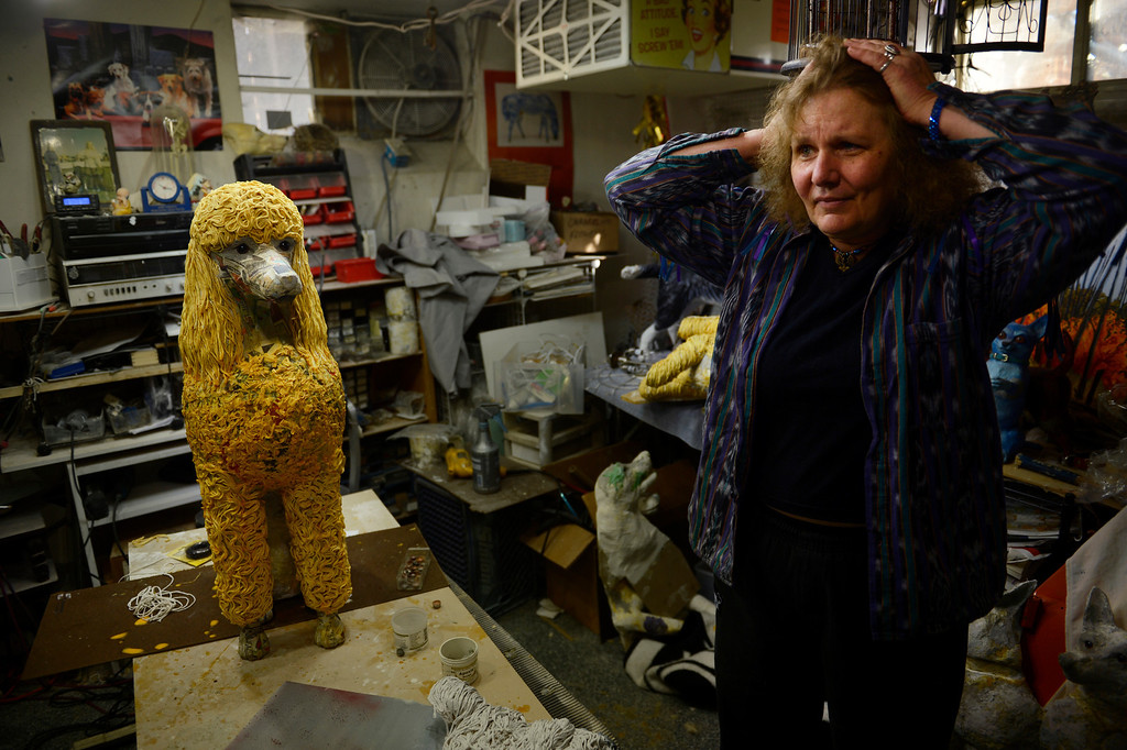 . Edgewater, CO. - January 28:  Artist Dede LaRue and a commission work in progress in her home studio in Edgewater, Colorado. January 28, 2013. (Photo By Joe Amon / The Denver Post)