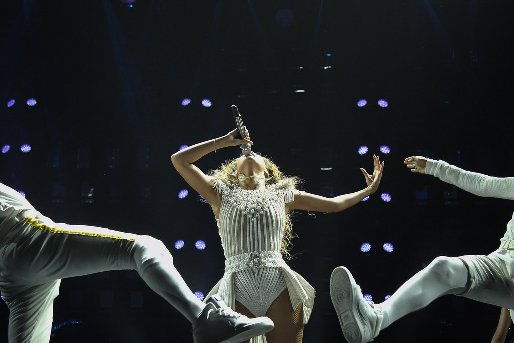 """. Singer Beyonce performs on her \""""Mrs. Carter Show World Tour 2013\"""", on Wednesday, July 17, 2013 at the United Center in Chicago, Illinois. (Photo by Robin Harper/Invision for Parkwood Entertainment/AP Images)"""