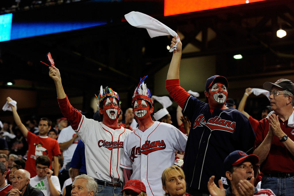 . CLEVELAND, OH - OCTOBER 02: Cleveland Indians fans cheer during the American League Wild Card game against the Tampa Bay Rays at Progressive Field on October 2, 2013 in Cleveland, Ohio.  (Photo by Jason Miller/Getty Images)