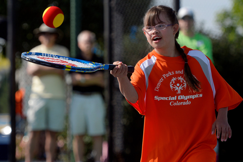 . DENVER, CO. - AUGUST 17: Marisol Gonzalez, of Aurora, shows off her forehand  during the individual skills tennis competition in the Special Olympics state championship at the Lowry Sports Complex in Denver, CO August 17, 2013. Special Olympics Colorado hosted its state championship in Bocce, Cycling, Golf, Softball and Tennis. Six hundred athletes competed in the events, which was supported by 250 volunteers and coaches. (Photo By Craig F. Walker / The Denver Post)