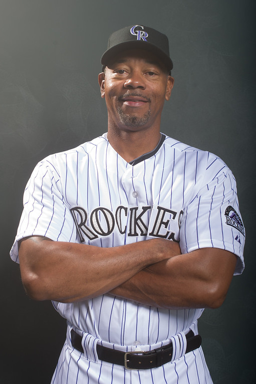 . Ellis Burks coach of the Colorado Rockies poses for a portrait during Photo Day at the Salt River Fields at Talking Stick on February 26, 2014 in Scottsdale, Arizona. (Photo by Rob Tringali/Getty Images)