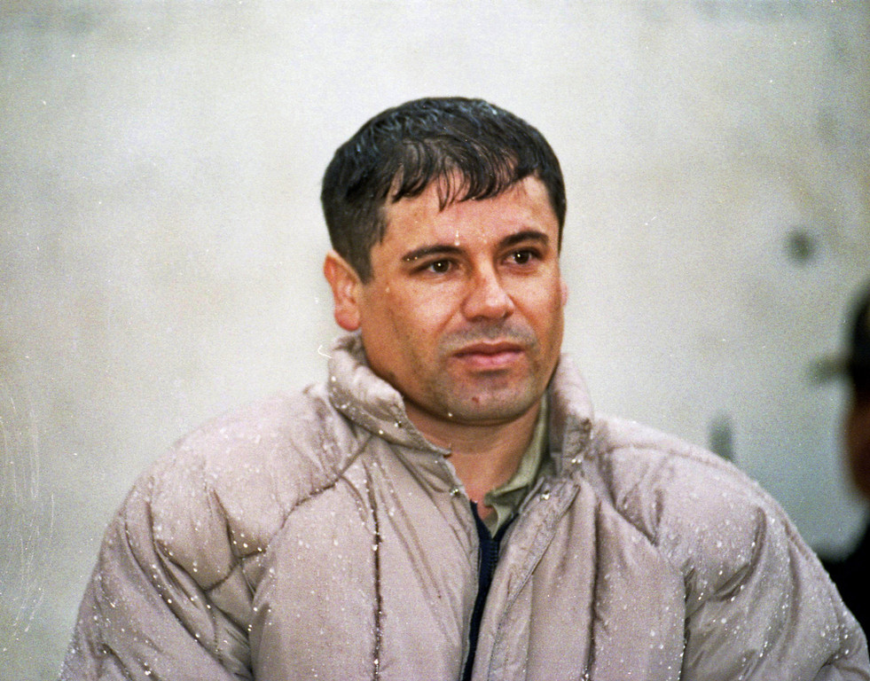 """. In this June 10, 1993 file photo, Joaquin Guzman Loera, alias \""""El Chapo Guzman,\"""" is shown to the press after his arrest at the high security prison of Almoloya de Juarez, outskirts of Mexico City. Mexican federal police nearly nabbed Joaquin \""""El Chapo\"""" Guzman in a coastal mansion in Los Cabos in late February, 2012, barely a day after U.S. Secretary of State Hillary Clinton met with dozens of other foreign ministers in the same southern Baja peninsula resort town. Jose Cuitlahuac Salinas, Mexico\'s assistant attorney general in charge of organized crime investigations, confirmed on Sunday, March 11, 2012, that there was a near miss in the government\'s efforts to arrest one of the world\'s top fugitives since he escaped prison in a laundry truck in 2001. (AP Photo/Damian Dovarganes, file)"""