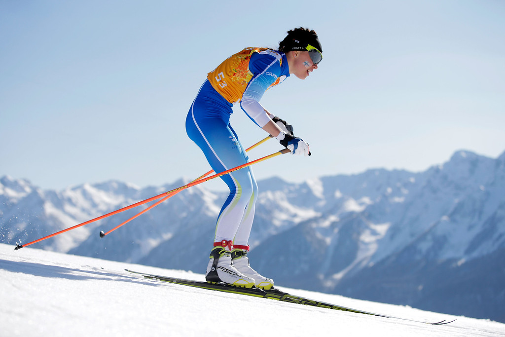 . SOCHI, RUSSIA - FEBRUARY 15:  Kerttu Niskanen of Finland competes in the Women\'s 4 x 5 km Relay during day eight of the Sochi 2014 Winter Olympics at Laura Cross-country Ski & Biathlon Center on February 15, 2014 in Sochi, Russia.  (Photo by Adam Pretty/Getty Images)