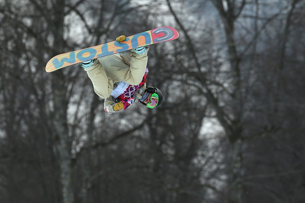 . Taylor Gold of the United States competes in the Snowboard Men\'s Halfpipe Qualification Heats on day four of the Sochi 2014 Winter Olympics at Rosa Khutor Extreme Park on February 11, 2014 in Sochi, Russia.  (Photo by Mike Ehrmann/Getty Images)