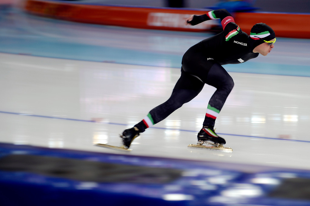 . Italy\'s David Bosa makes a turn during the speed skating men\'s 500-meter at Adler Arena. Sochi 2014 Winter Olympics on Monday, February 10, 2014. (Photo by AAron Ontiveroz/The Denver Post)