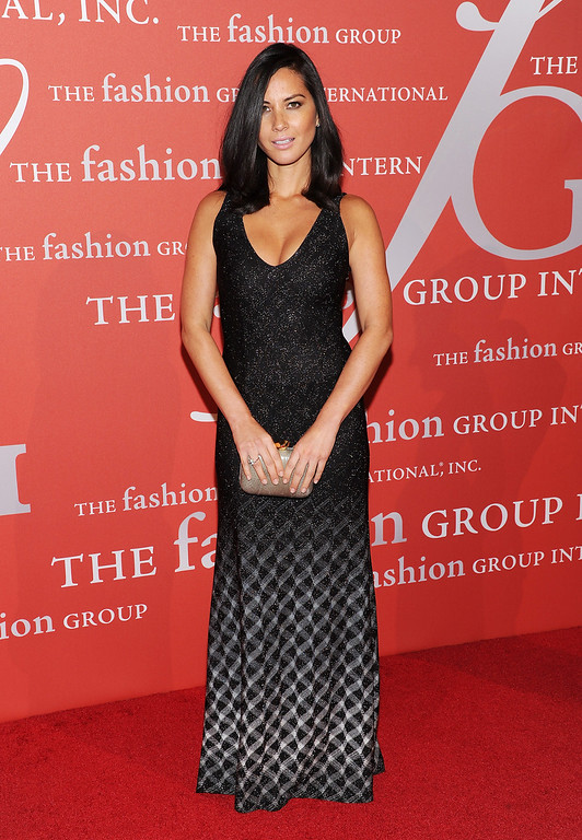". Actress Olivia Munn attends the Fashion Group International\'s 30th annual ""Night Of Stars\"" awards gala at Cipriani\'s Wall Street on Tuesday, Oct. 22, 2013, in New York. (Photo by Evan Agostini/Invision/AP)"