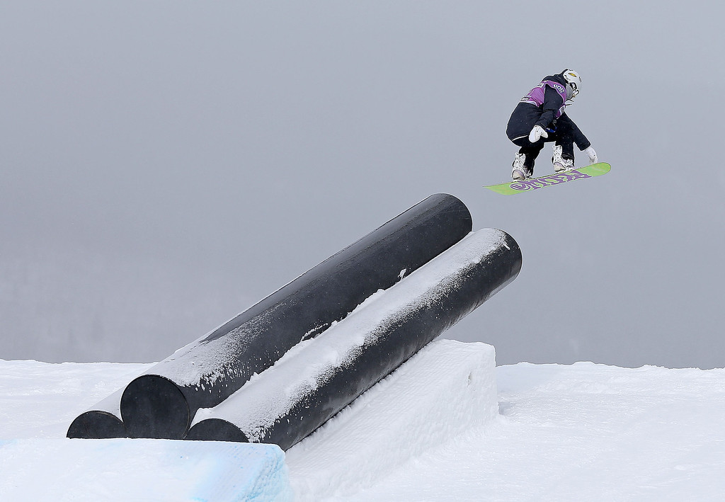 . Katerina Vojackova of the Czech Republic competes during qualifying for the women\'s FIS Snowboard Slopestyle World Cup at U.S. Snowboarding and Freeskiing Grand Prix on December 20, 2013 in Copper Mountain, Colorado.  (Photo by Mike Ehrmann/Getty Images)