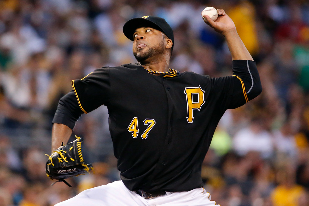. Pittsburgh Pirates starting pitcher Francisco Liriano delivers during the third inning of a baseball game against the Colorado Rockies in Pittsburgh Friday, July 18, 2014. (AP Photo/Gene J. Puskar)